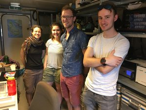 Radiosonde group, pictured below from right to left: Maximilian Ringle, Hauke Schulz, Katharina Stolla, Sabrina Schnitt, © Peter Blossey